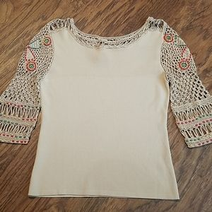 Vintage Joseph A crochet beaded sweater small